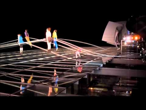 Bandaloop dancing on facade of New World Center Miami Beach Sleepless Night