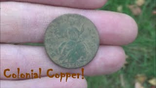 Colonial Copper! 1750 King George Half Penny!! Metal Detecting 2015 in CT Minelab CTX 3030 and Etrac