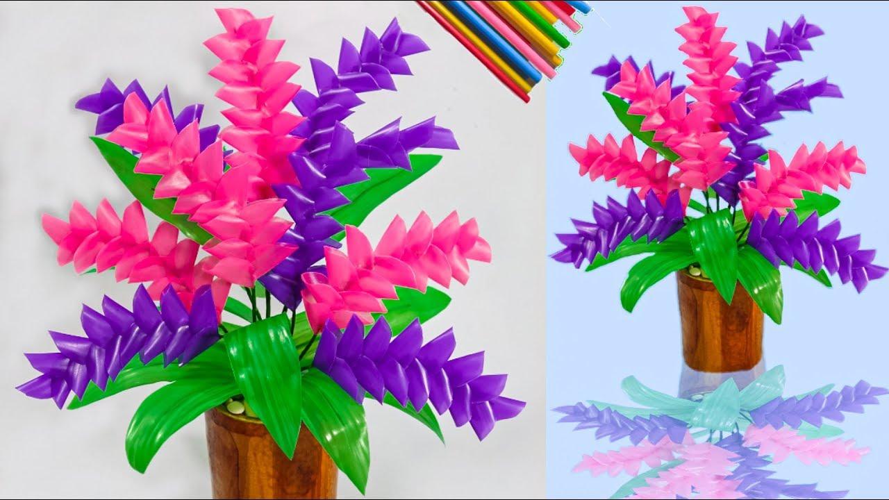 Cara Membuat Bunga Dari Sedotan Kreatif Yang Simpel Craft With Plastic Straws Youtube