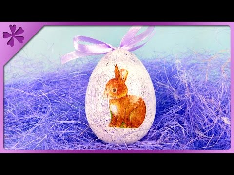 DIY Decoupage Easter egg (ENG Subtitles) - Speed up #335