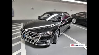 Unboxing of 1:18 Audi A8 L 2017 Mythos Black by Norev + review