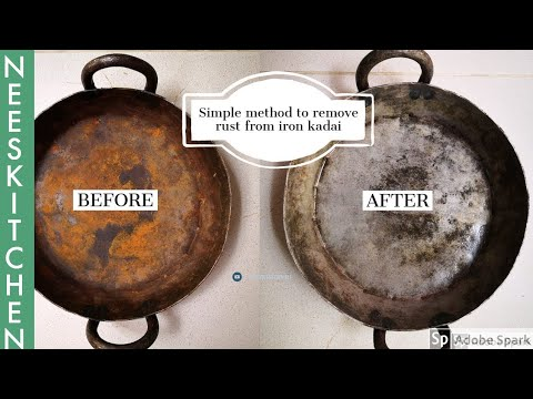 Easiest way to remove rust from iron kadai (pan)