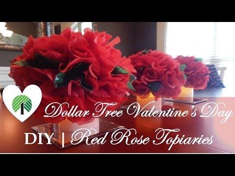 Dollar Tree Valentine's Day Centerpiece | DIY Red  Rose Topiaries