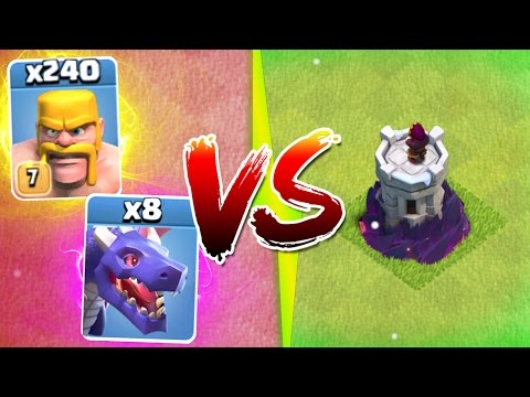 Clash Of Clans - 1 TROOP ARMY vs NEW MAX LEVEL WIZARD TOWER!!