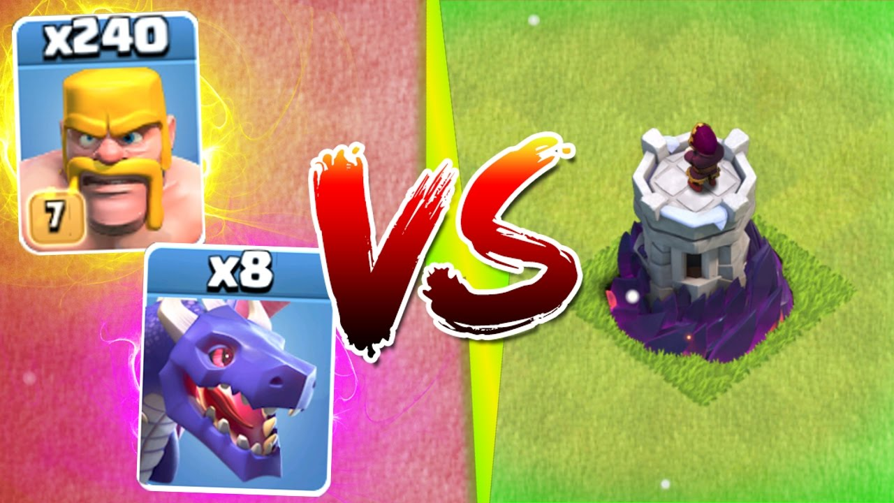 Clash Of Clans 1 Troop Army Vs New Max Level Wizard Tower