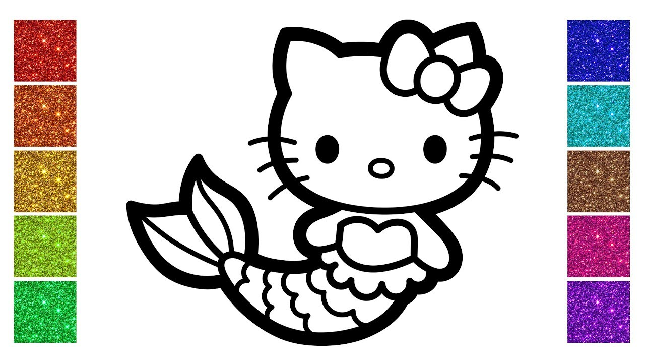 How To Draw Princess Mermaid Hello Kitty Glitter Coloring Pages