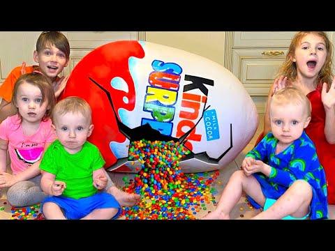 Five Kids Chocolate Surprise Eggs + more Children's videos