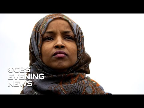Ilhan Omar supporters protest outside Trump event