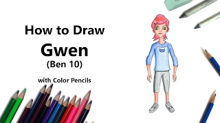 How to Draw Gwen from Ben 10 with Color Pencils [Time Lapse]