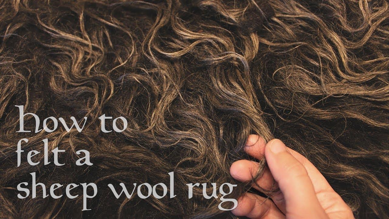 How To Felt A Sheep Wool Rug Timelapse