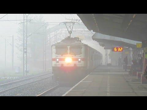 Trains operating at Zero Visibility Dense FOG : Early Morning RFing at Hajigarh