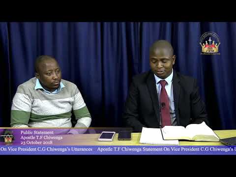 Apostle T F Chiwenga's Statement On Vice President C.G Chiwenga's Utterances