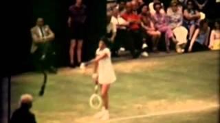 Margaret Court serving (slow motion). Wimbledon 1973