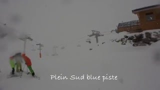 Val Thorens Plein Sud blue run from the top of Plein Sud chair lift