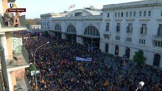 Протестами встретили сторонники независимости Каталонии короля Испании Филиппа в Барселоне