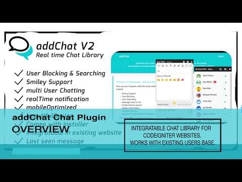 addChat Overview - Codeigniter Integratable Chat Library