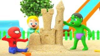 SUPERHERO BABIES PLAY WITH SAND ❤ Spiderman, Hulk & Frozen Elsa Play Doh Cartoons For Kids