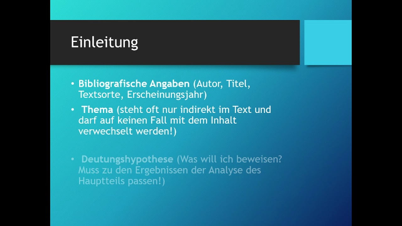 Textanalyse Aufbau Deutsch Youtube