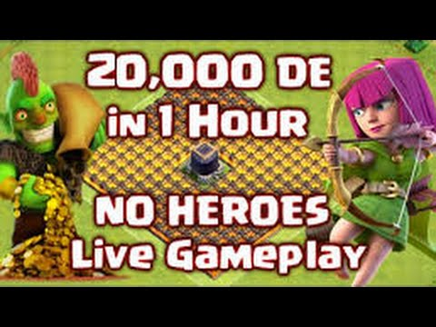How to Make 20,000 Dark Elixir in 1 HOUR Live without Heroes! Clash of Clans - Farming Strategy