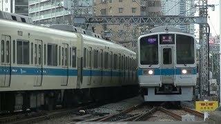 平日朝の小田急小田原線町田駅(字幕入り)