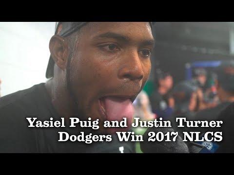 Yasiel Puig and Justin Turner Talk Winning the 2017 NLCS | Los Angeles Times