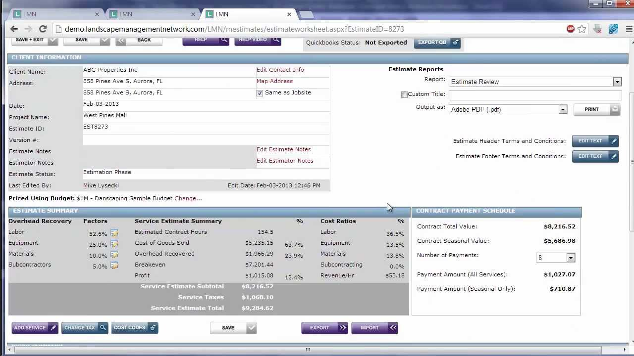 Exporting LMN's Landscape Maintenance Estimates to Quickbooks ...