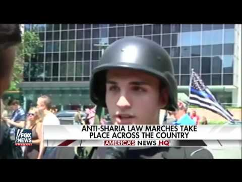 Anti Sharia law march and counter protest take place in NYC