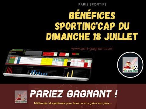 Résultats et bénéfices paris sportifs avec Sporting'Cap du dimanche 18 juillet 2021