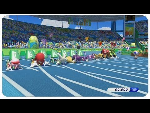 Mario & Sonic at the Rio 2016 Olympic Games (Wii U) - 100m All Characters Gameplay