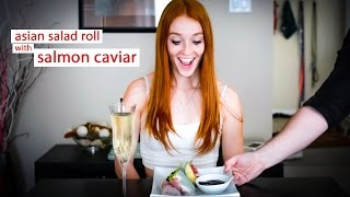 Date Night Cook: Asian Salad Roll With Salmon Caviar