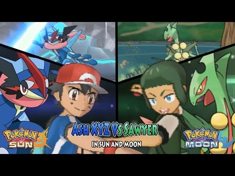 Pokemon Sun and Moon: Trainer Ash Vs Sawyer (Shota) (Pokemon XYZ Ash Ketchum)