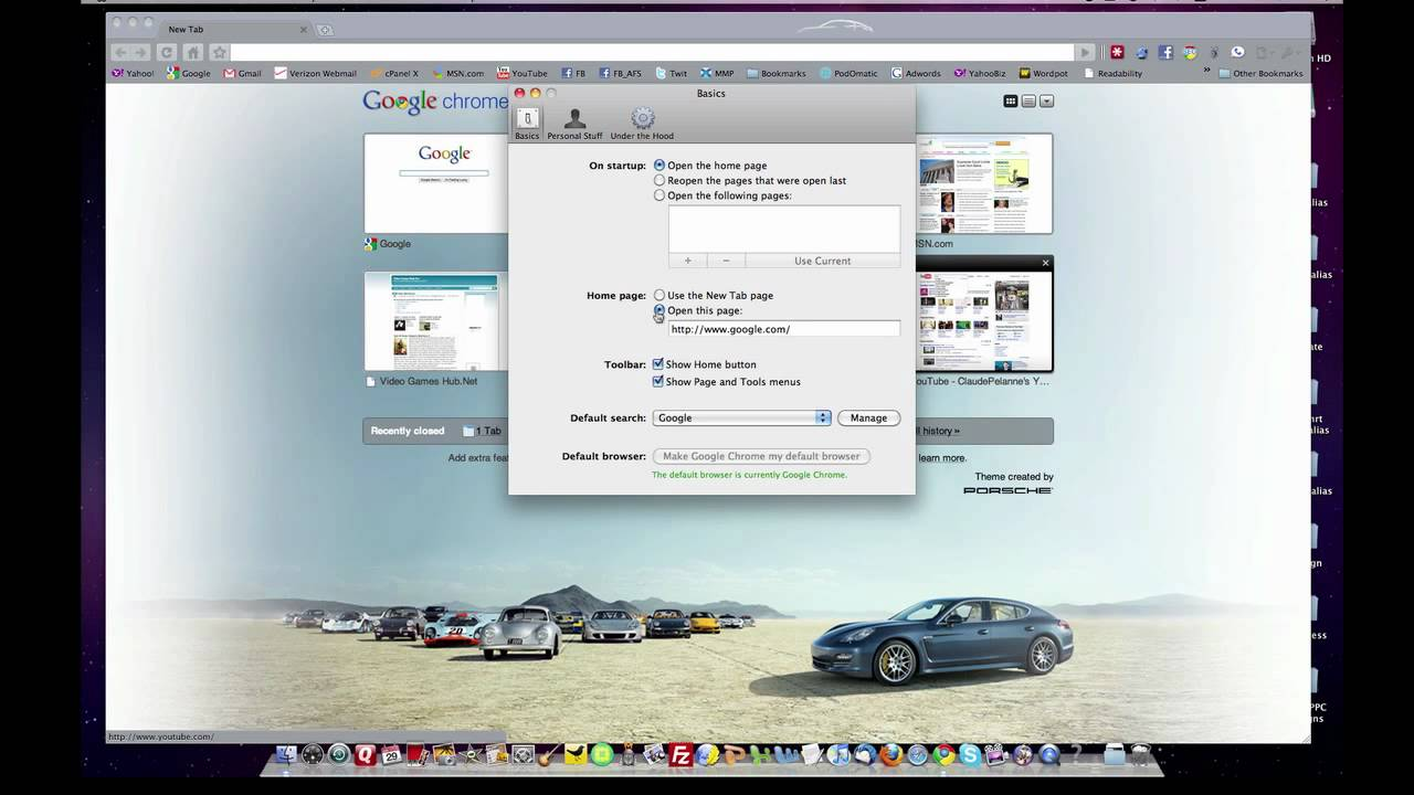 Google Chrome Mac Home Page And Tools Menu Youtube