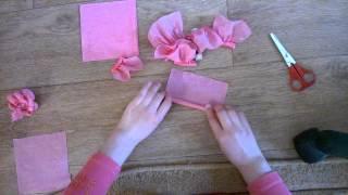 Как сделать розочки из салфеток!)(В этом видео-уроке я вам расскажу,как сделать красивые розочки из салфеток при помощи:ножниц,карандаша,нито..., 2015-05-02T13:59:53.000Z)