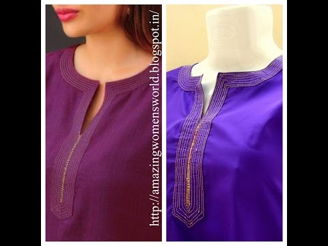 ROUND NECK SIMPLE ZARI EMBROIDERY WORK || DIY | Easy Making ||