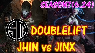 TSM Doublelift Jhin vs Jinx / Solo Ranked game【LOL NA】【Pro replay game】