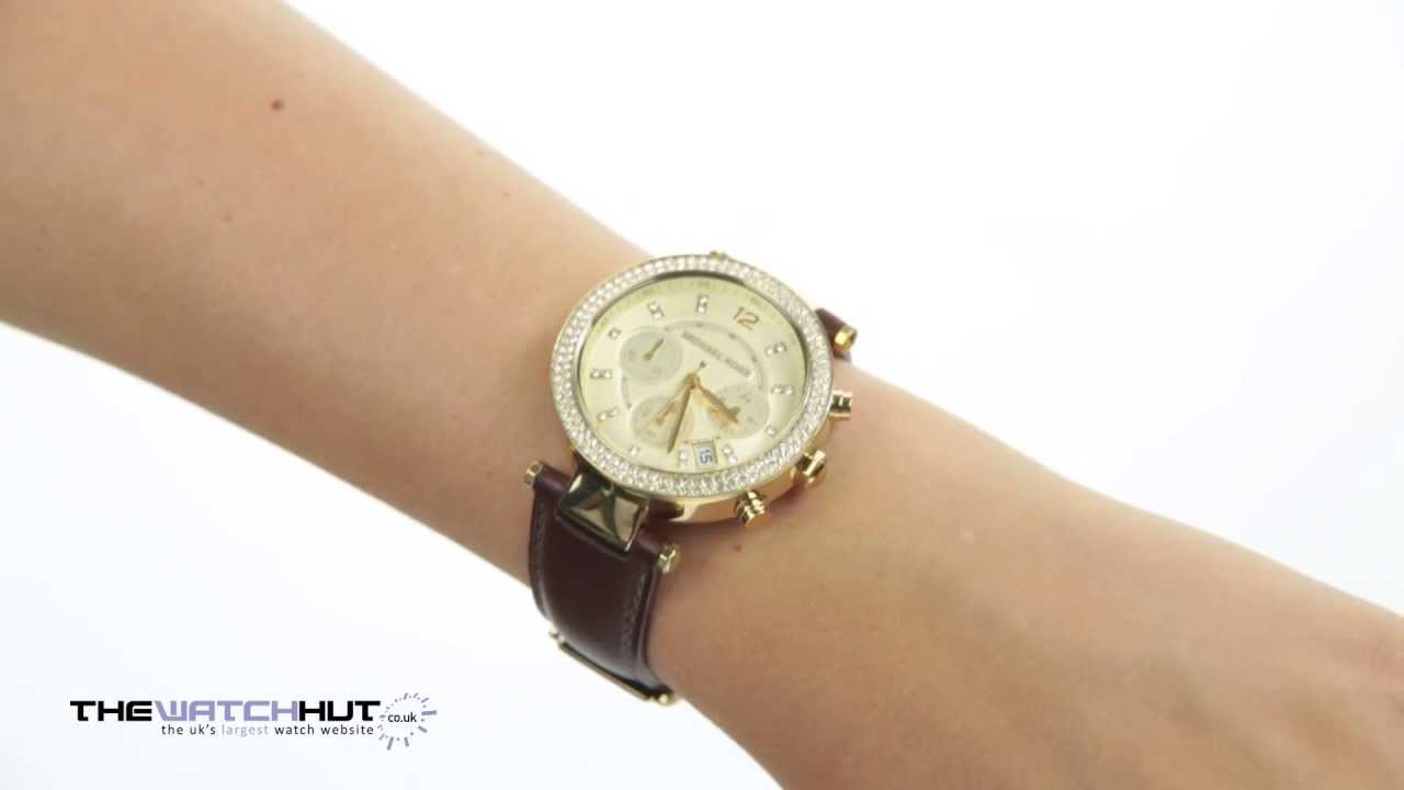 671230f5a74 Michael Kors Ladies Brown Leather Strap Watch MK2249 - YouTube