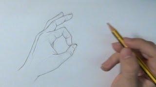Aprende a dibujar una mano haciendo el OK - How to draw a hand with Ok
