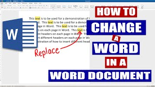 In Word how to replace one word with another | MS Word | EASILY (2019)