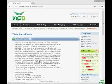 Whois lookup and Domain name search  in W3D Technologies,
