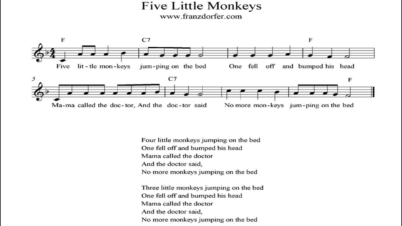 Five Little Monkeys Instrumental Youtube