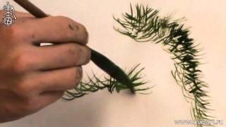 Обучение рисованию деревьев при помощи живописи у-син Часть 6