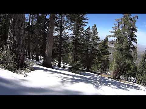 Snow sledding at Mount Baden Powell trail