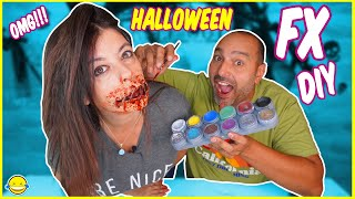 🎃 DIY FAKE WOUNDS WITH TOILETE PAPER!! Halloween Make Up!! Momentos Divertidos