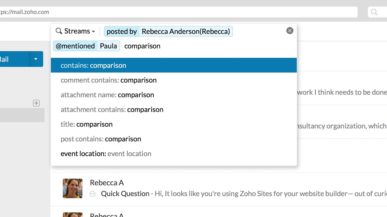 Zoho Mail - Search with multiple criteria, to get exact results from any of  the apps