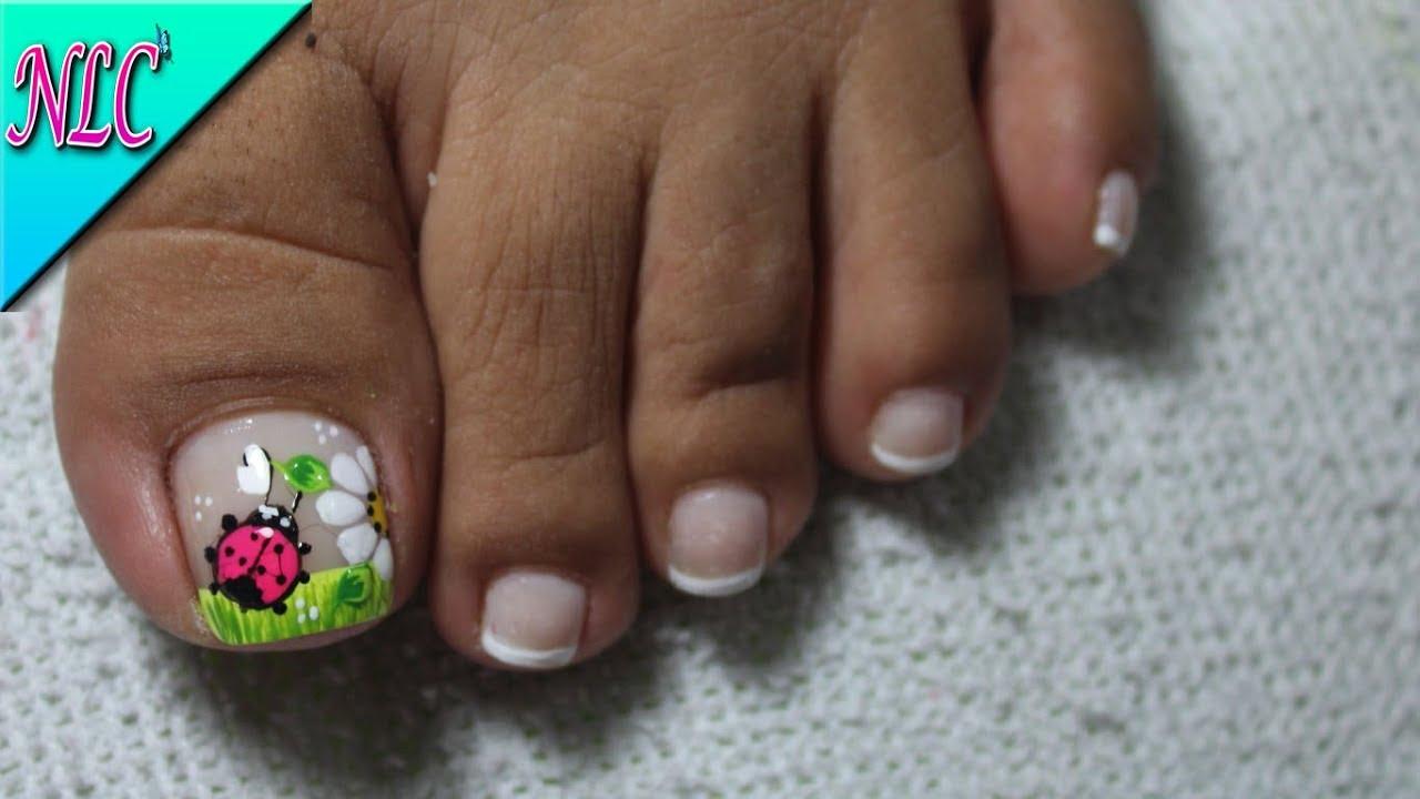 Decoración De Uñas Para Pies Mariquita Y Flor Flower Nail Art