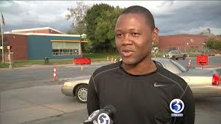 Video: Good Samaritan steps in to help after ambulance crash