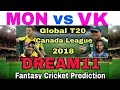 MON vs VK (canada t20 league) T20 PLAYING11  DREAM11 TEAM PREDICTION AND TEAM NEWS  