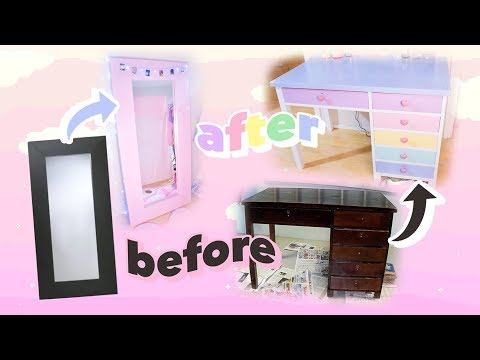 ♡ FURNITURE MAKEOVER // PAINTING MIRROR AND MAKEUP VANITY 🌈🎨