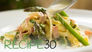 Creamy Tagliatelle with Pancetta and Vegetables - By RECIPE30.com