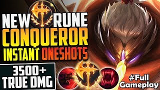 NEW RUNE CONQUEROR JAX | 3500+ TRUE DMG INSTANT ONE SHOTS | JAX TOP LANE PBE SEASON 8 Full Gameplay
